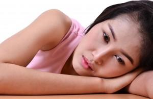 portrait of sad pretty girl